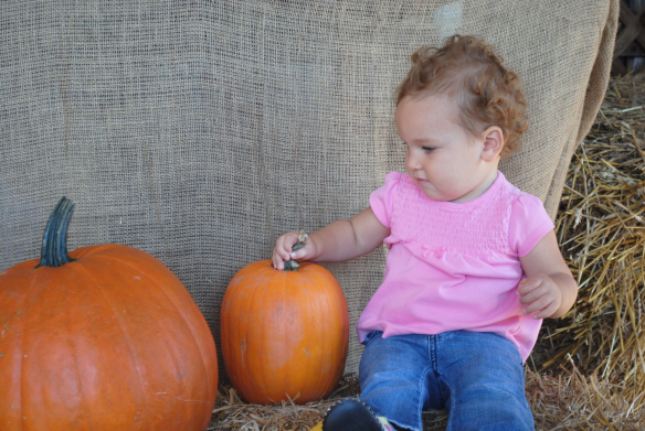 Isla and Pumpkins